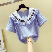 Striped Blouse Sweet Sailor Collar Lotus Leaf Stripe Shirt Short Sleeve Pull Blusas Student Tops Nancylim Summer Autumn Women