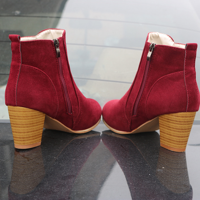 Hot Autumn Winter Women Boots Solid European Ladies shoes  boots Suede Leather ankle boots with thick scrub size 35 41
