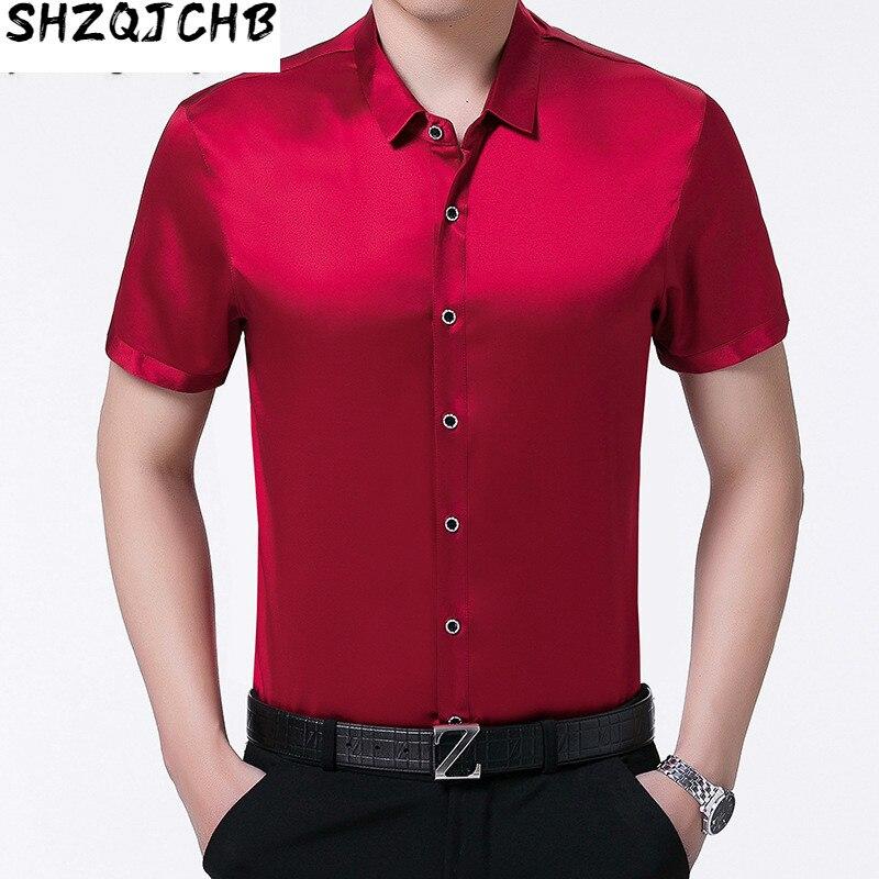 JCHB 2021 100% Silk Men Shirt Short Sleeve Summer Red Black Shirt Korean Men Clothes Formal Man Shirts High Quality Camisa CH-77