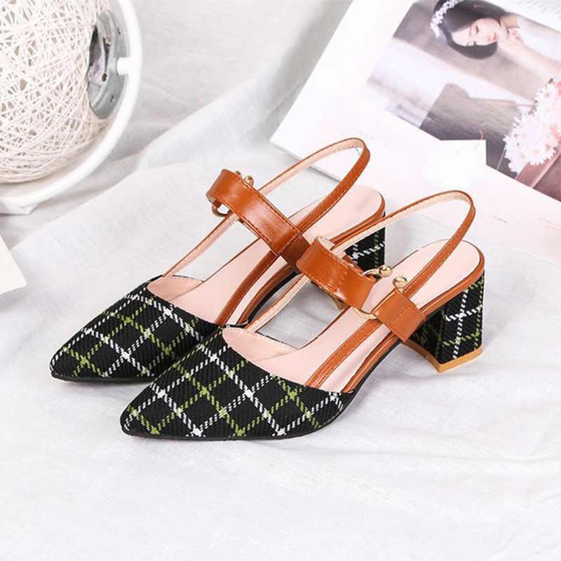 Frauen Sommer Plaid Sandalen Frau High Heels Schnalle Spitz Slingback Mode Schuhe Weibliche Elegante Dame Schuhe Neue 2020