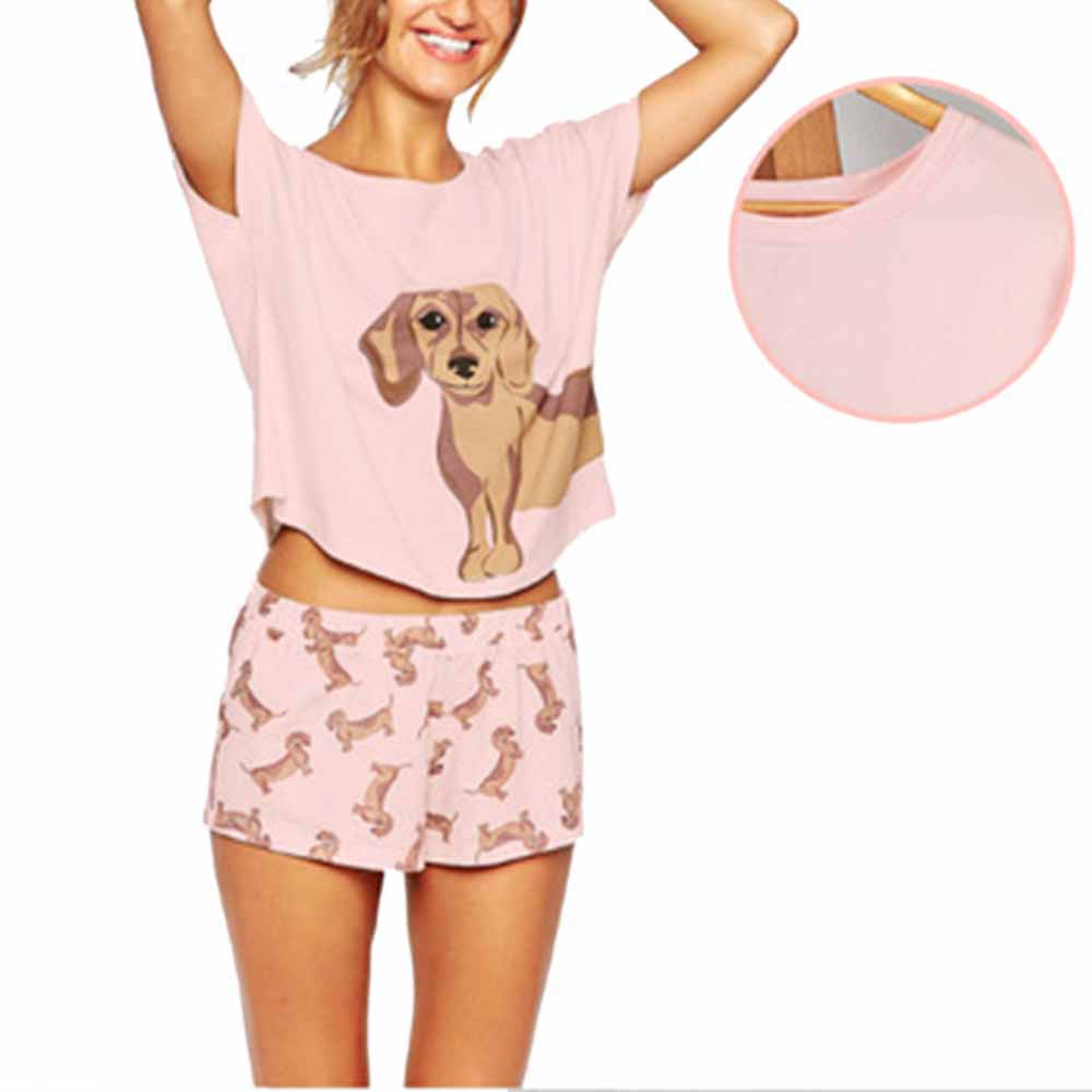 Women Pajama Sets Dachshund Pug Corgi Chihuahua German Shepherd Dog Crop Top Shorts Elastic Waist Loose Pijama Mujer O-neck
