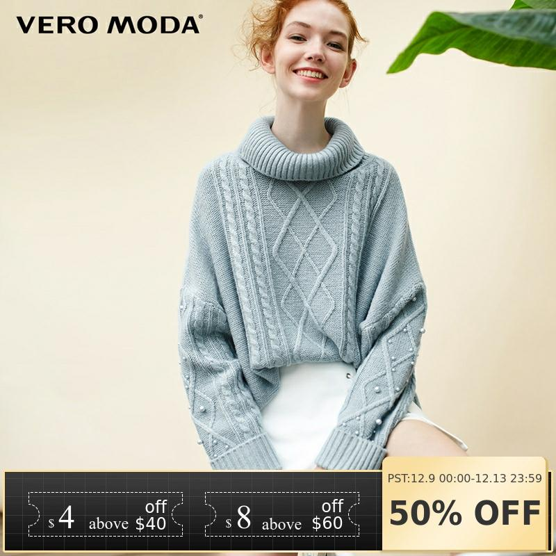 Vero Moda Women's High Collar Pullover Loose Twisted Off Shoulder Knit Sweater | 318313502