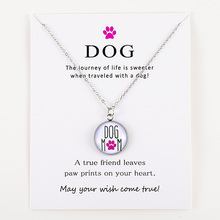Live Life Love Rescue Dog Paw Animal Silver Pendants Chain Necklaces Women Men Unisex Trendy Fashion Jewelry Christmas Gift