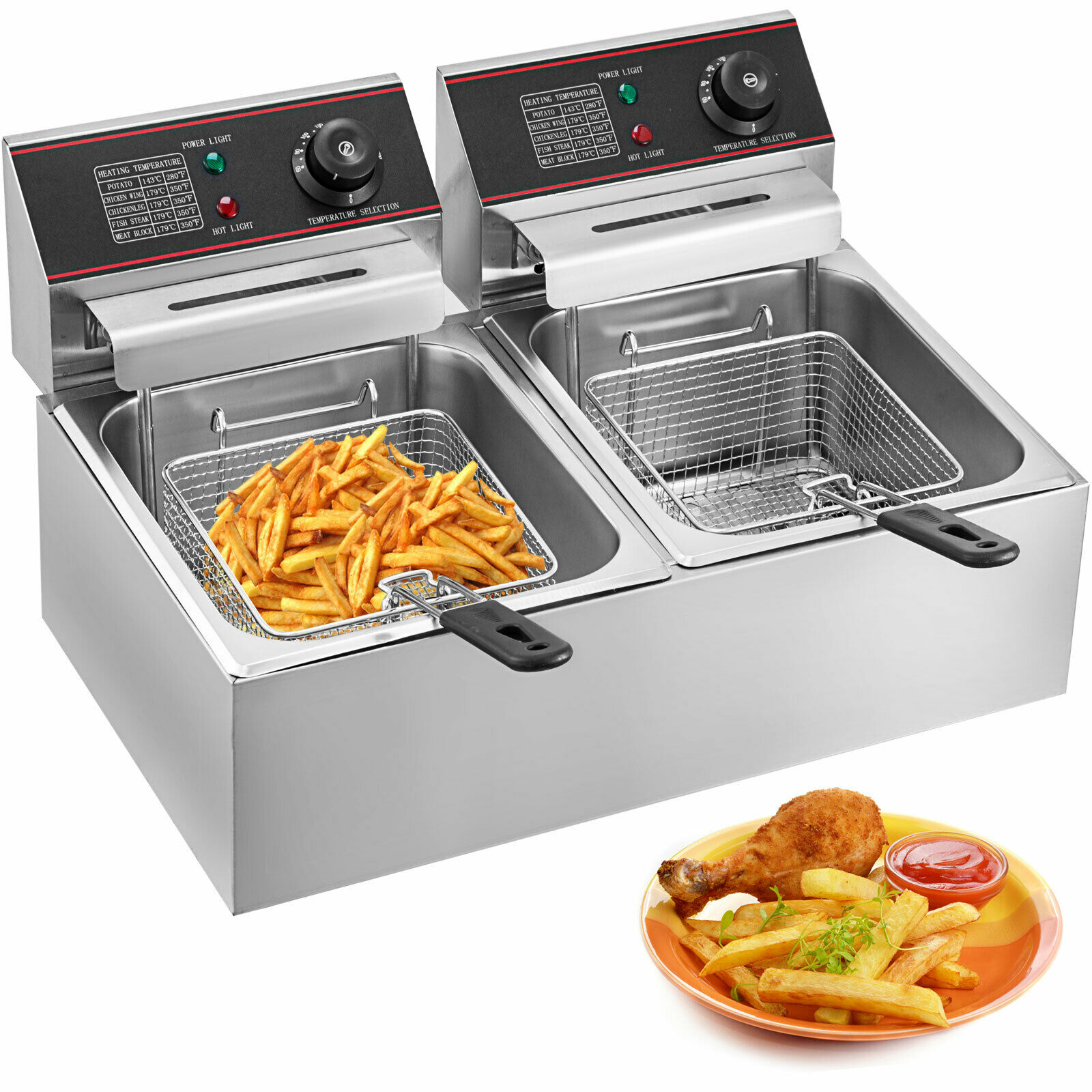Electric Deep Fryer Fat Fry Chip Commercial Countertop Stainless Steel 12L 220V/110V/ YB-82 Free Shipping