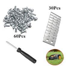 Substituição para worx landroid cortador robô 30 peças de aço inserções reposição 0.9mm + 60 parafusos 1pcs chave fenda