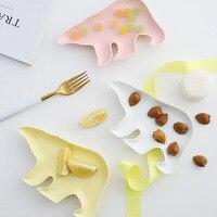Мультяшная креативная керамическая тарелка полярного медведя в форме животного посуда для закусок для дома конфеты блюдо сушеные фрукты з...