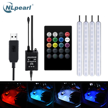 NLpearl Led Decorative Lamp Car Atmosphere Light Foot Light USB/Cigarette Lighter Remote Control Interior Ambient LED Lamps 5050 4pcs wireless remote control interior floor foot decoration light 12led car interior atmosphere rgb neon decorative lamp