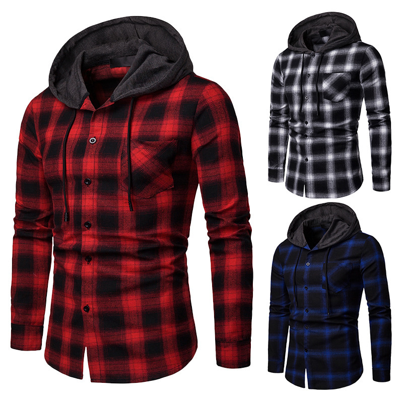 Men Plaid Shirts New Fashion Korean Wild Long Sleeve Flannel Hooded Shirt Casual Slim Fit Plus Size Cotton Men Clothes Red - 2