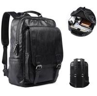 PU Leather Backpack for Men Slim 15.6 Inch Laptop Large Capacity Business Travel Bag Black