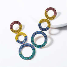 2019 New Fashion Jewelry Exaggerated Multi-layer Ring Rhinestone Earrings Personality Wild Popular Womens Long