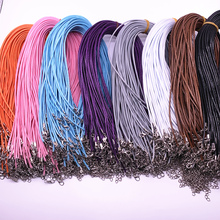 цены New 5pcs 2mm Leather Cord Wax Rope Chain Necklace Extender Chain Lobster Clasp DIY Jewelry Accessories