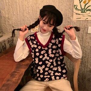 Image 3 - 2019 Mùa Thu Đông Phong Cách Hàn Quốc Cổ Chữ V Dệt Kim Hoa Vest Không Tay Áo Len Nữ Áo Thun Nữ (C8574)