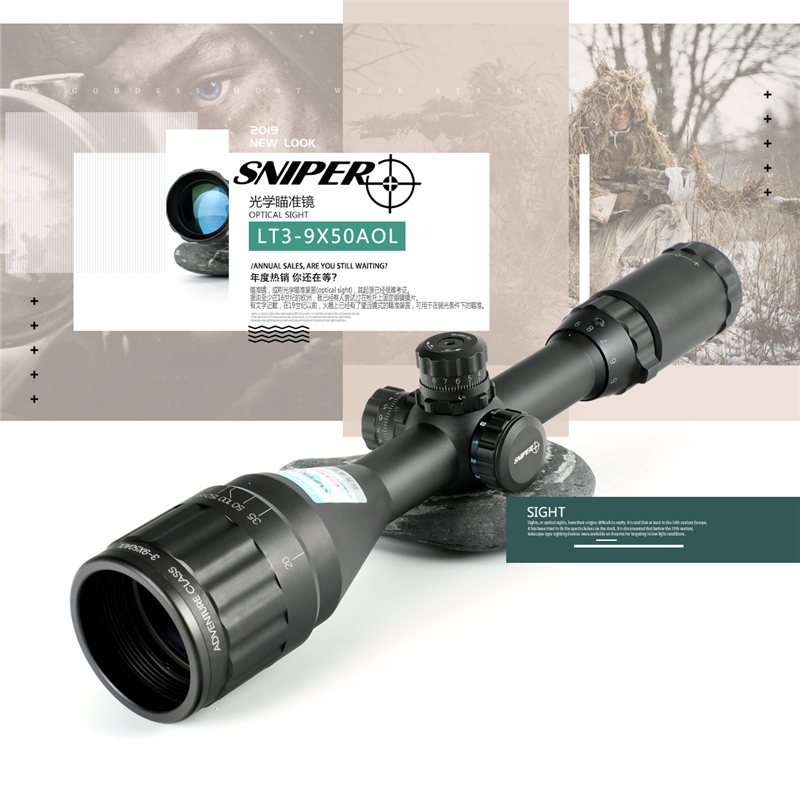 SNIPER LT 3-9X50 AOL Hunting Riflescopes Tactical Optical Sight Full Size Glass Etched Reticle RGB Illuminated Rifle Scope