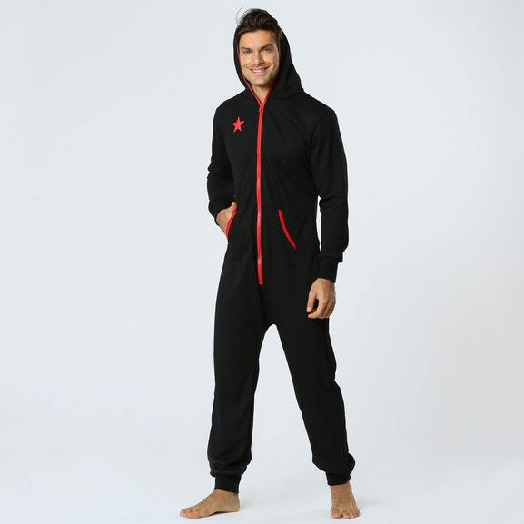Solid Men Jumpsuit Pajama Comfortable Casual Keep Warm And Soft Onesies Pajama Kigurumi   Winter And Autumn Hooded Homewear