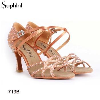 Free Shipping Suphini Deep Tan Satin Woman Latin Dance Shoes Female High Heel Latin Shoes