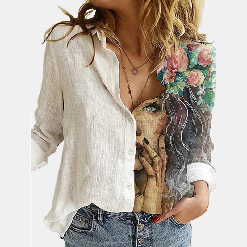 Moda hayvan kedi baskı kadın Tshirt Tee Casual uzun kollu gevşek düğme yukarı gömlek bayanlar Tops Streetwear artı boyutu cadılar bayramı
