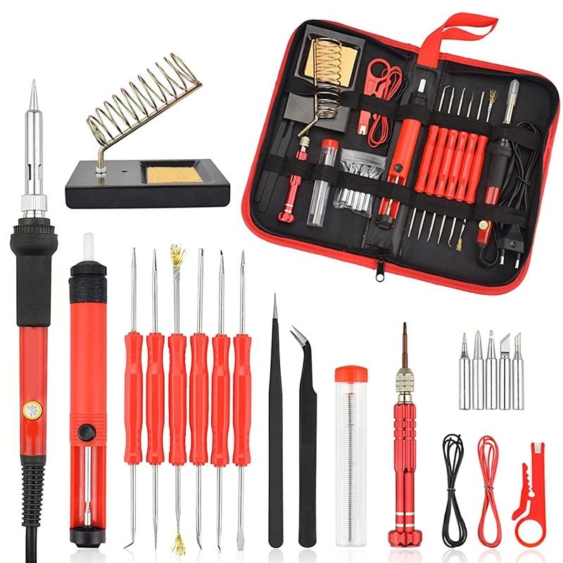 Eu Plug 60W Electric Soldering Iron Kit Screwdriver Desoldering Pump Tip Wire Pliers Tool Bag Welding Repair Tool Set