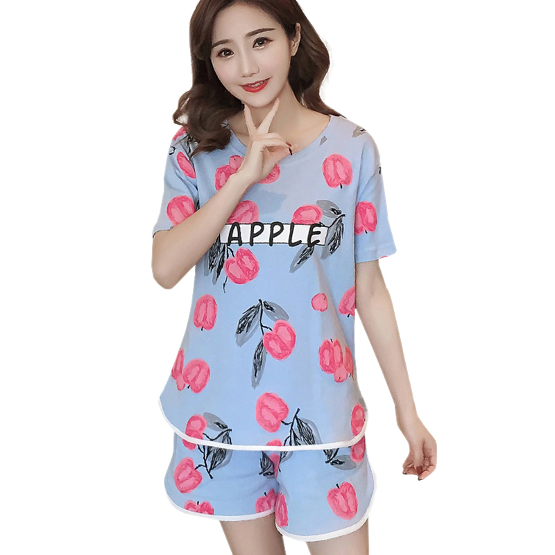 Pajama     Sets   Women Sweet Cute Summer Round Neck Casual Two-piece Suit Red Apple Print Slim Short Sleeve Shorts Sleepwear   Set