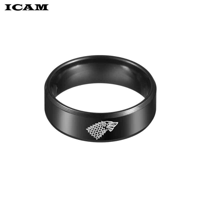 ICAM แหวนสแตนเลส Game of Thrones ice wolf House Stark of Winterfell แหวนเลเซอร์แกะสลักไวกิ้งหมาป่า Rin