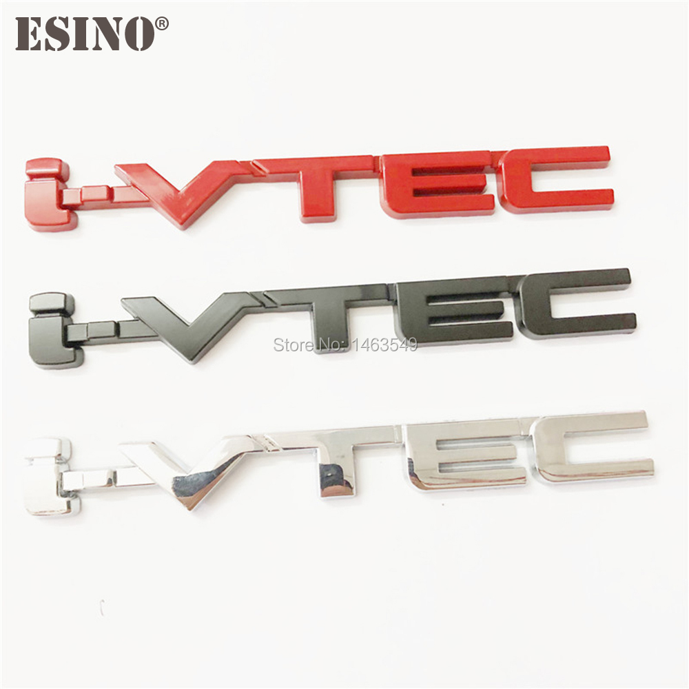 New Car Styling 3D VTEC I-VTEC Metal Chrome Zinc Alloy Emblem Car Body Badge Sticker Auto Accessory For Civic Accord Insight