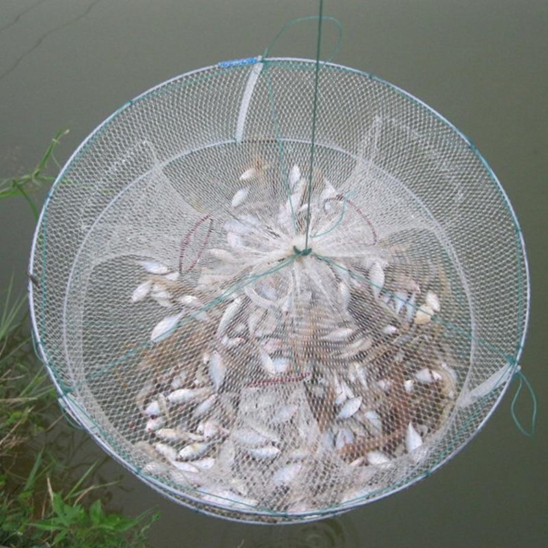 1PCs Portable Round Fishing Net Foldable Fish Shrimp Minnow Crab Bait Cast Mesh 33*12cm Fish Catching Cage Fishing Accessories