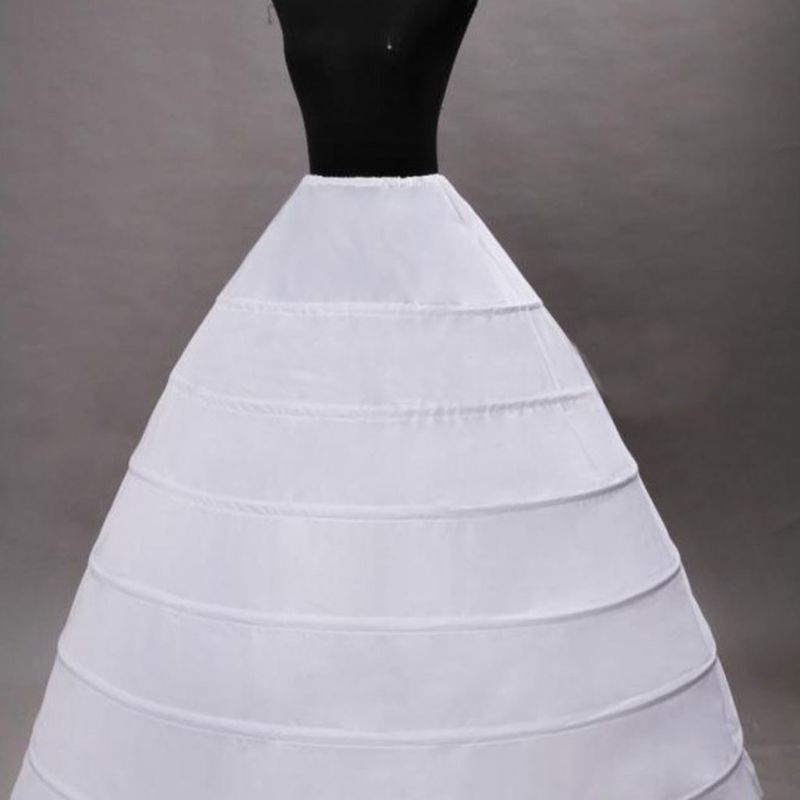 Wedding Dress Skirt Support Costume Petticoat Slip Large 6-Hoops Yarnless Petticoats for Bride Women E15E