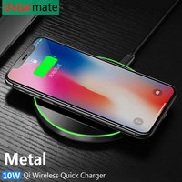 Qi Wireless Charger 10W Quick Charger for iPhone X Xs XR 8 Metal Fast Wireless Charging Pad for Samsung S9 S10 Note 8 9 10 Plus 4