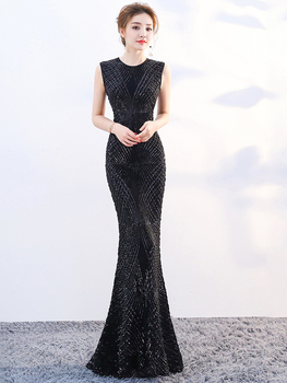 Formal Evening Dress Mermaid O Neck Sleeveless Long Party Gowns Robe Soiree Elegant 2020 Red Gold Black New Sequins