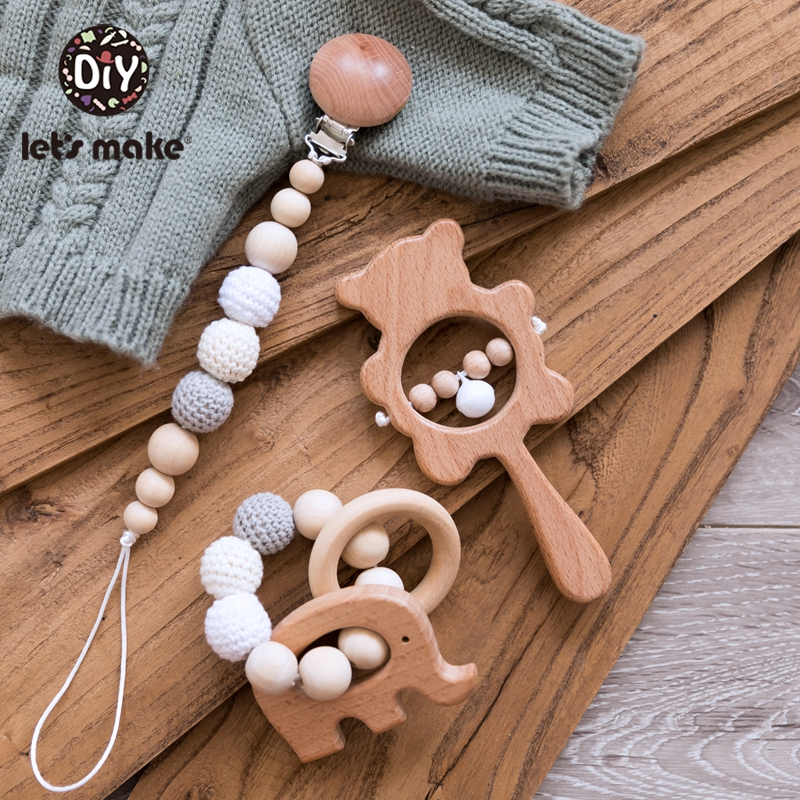 Let'S Make 1 Set Baby Toys Wooden Rattle Infant Babyplay Baby Rattle Personalized Pacifier Chain Rattles For 0-12 Months Kids