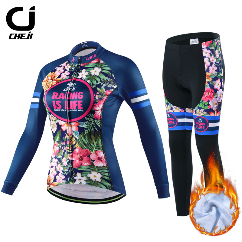 CHEJI Winter Bicycle Clothing Womens Thermal Fleece Cycling Jersey and Pants Set
