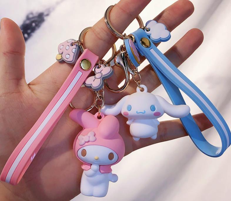1 Pc Creative My Melody Pudding Cinnamoroll Dog Kuromi Keychain Bag Pendant Keyring for Girls Figure Toy-2