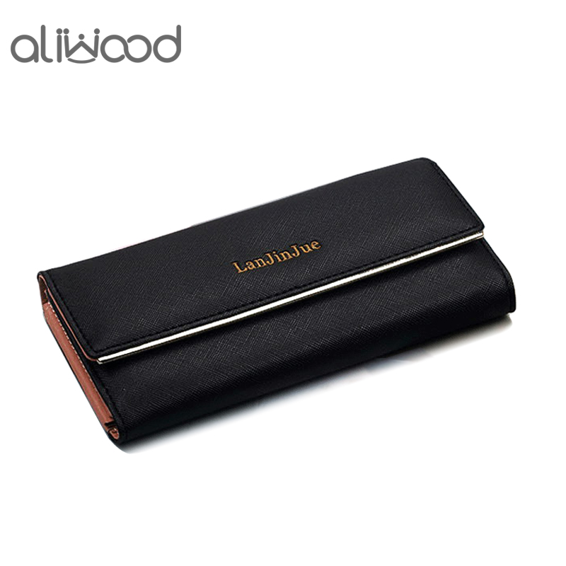 aliwood Leather Long Women's Wallet Clutch Cartera Mujer Elegant Large Capacity 3 Fold Female Wallets Phone Pocket Card Holder