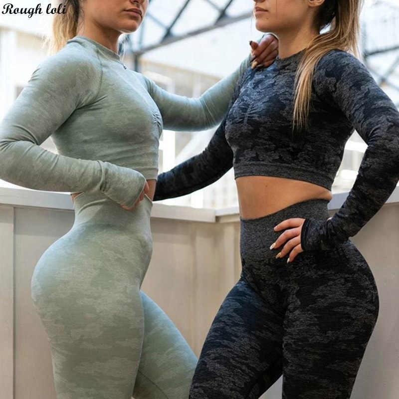 Seamless yoga top for women fitness long sleeve gym tops workout gym crop top camo seamless shirts athletic sportswear