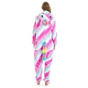 Image 2 - Vrouwen Eenhoorn Cosplay Kigurumi Onesie Volwassen Dier Pyjama Onesies Flanel Warme Zachte Nachtkleding Onepiece Anime Winter Jumpsuit