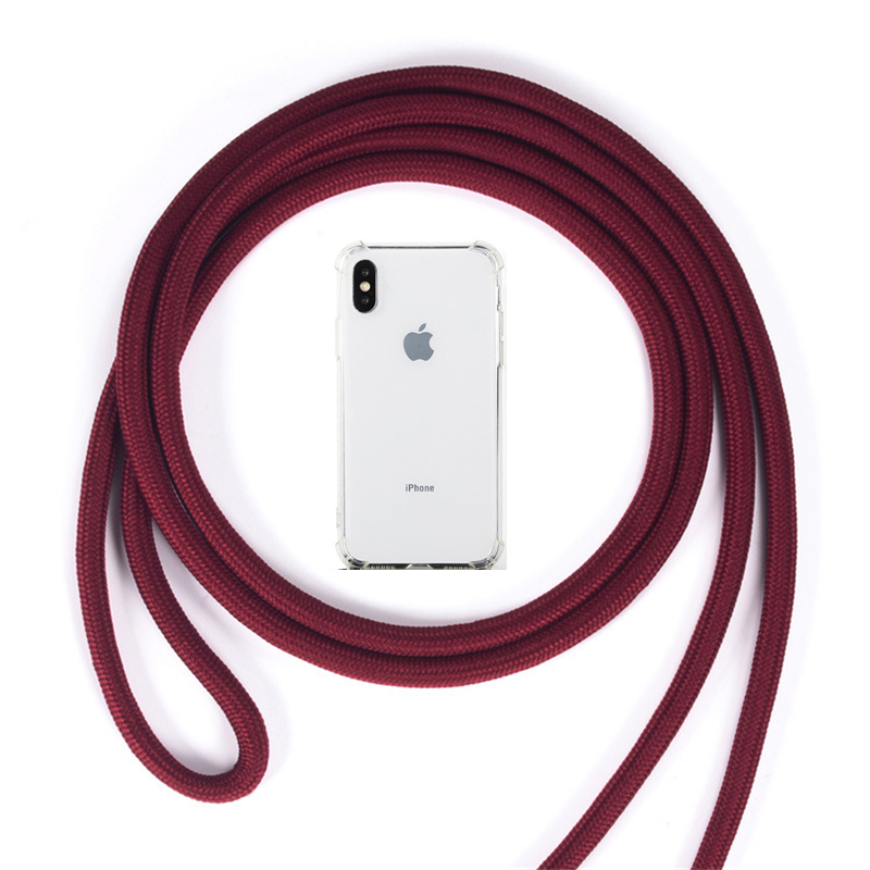 Strap Cord Chain Transparent Phone Case For iPhone 11 Pro XS Max XR X 7 8 6 6s Plus Carry Necklace Lanyard Clear Cover Cases