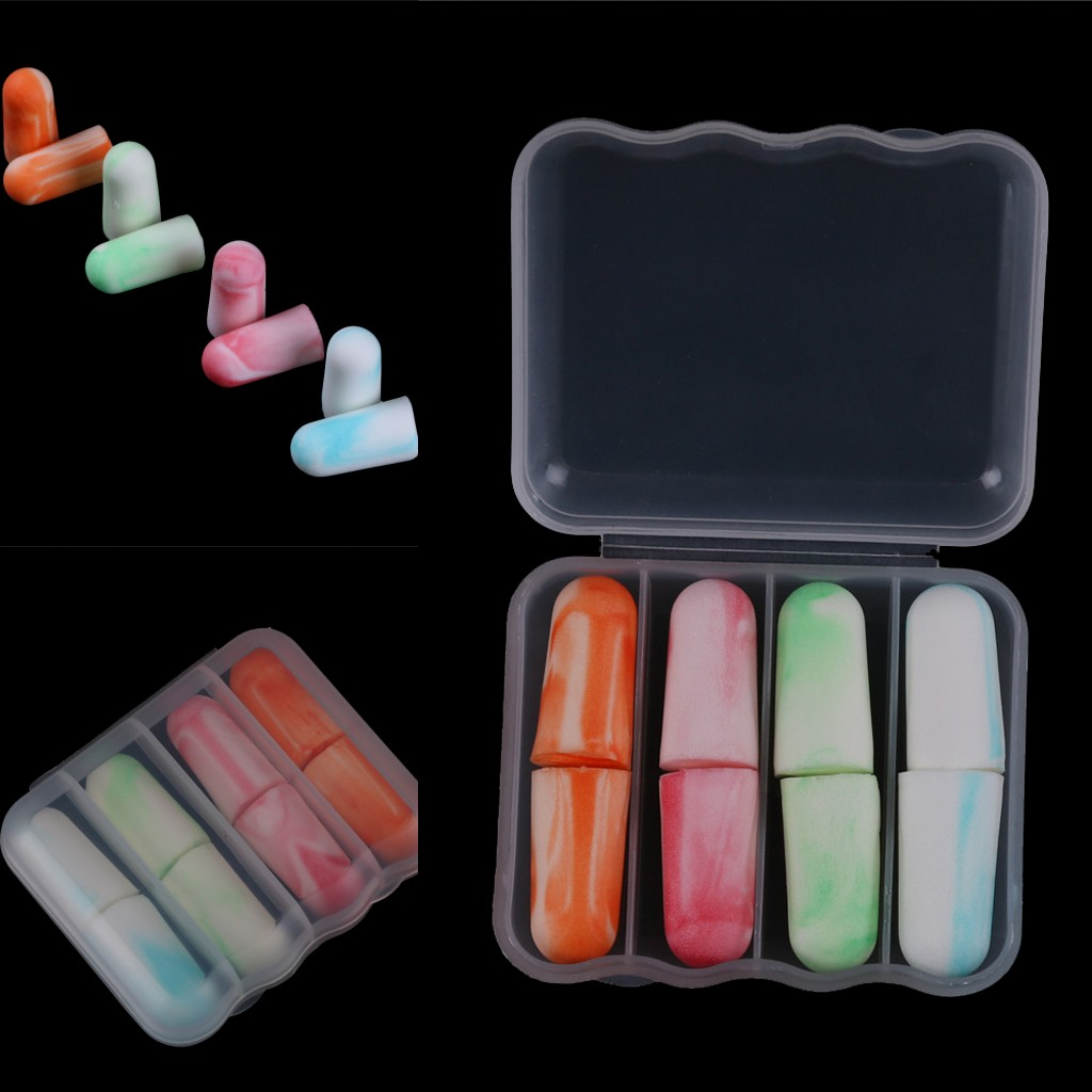 4 Pairs Soft Foam Ear Plugs Sleep Noise Prevention Earplugs Travel Sleeping Noise Reduction Hearing Protection
