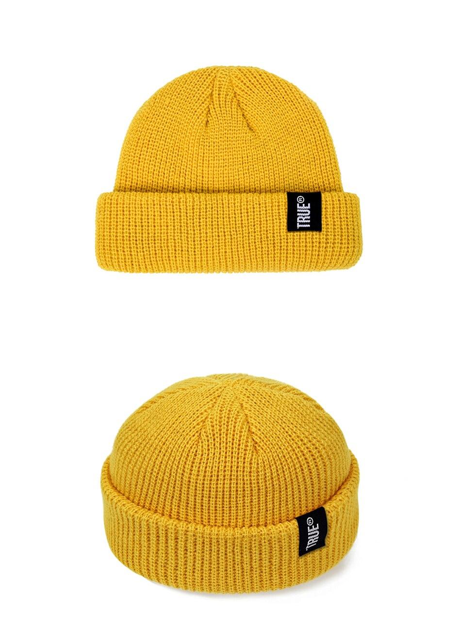2019 Fashion Unisex Winter Hat Men Cuffed Cib Knit Hat Short Melon Ski Beanies Autumn Winter Solid Color Casual Beanie Hat 26