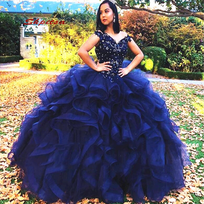 Navy Blue Luxury Quinceanera Dresses Ball Gown Girls Masquerade Ball Gowns Sweet 16 Dresses Vestidos De 15 Anos Debutantes