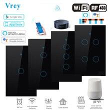 Smart Touch schalter, APP Smart Wireless Remote Schalter, voice Control Alexa Echo / Google Hause Kristall Gehärtetem Glas Panel