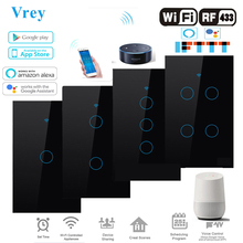 Smart Touch switch, APP Smart Wireless Remote Switch, Voice Control Alexa Echo / Google Home Crystal Tempered Glass Panel