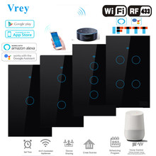 Smart Touch switch, APP Smart Wireless Remote Switch, Voice-Control Alexa Echo / Google Home Crystal Tempered Glass Panel