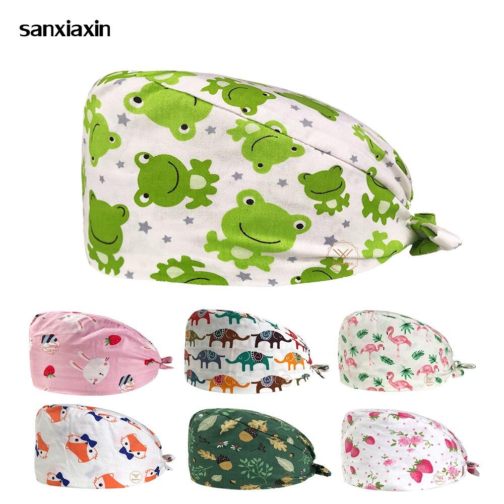 Cartoon Cotton Print Surgical Caps Hat Pet Doctor Hat Dentist Hat Print Girl Nurse Accessories Wholesale Prices Women Scrubs Hat