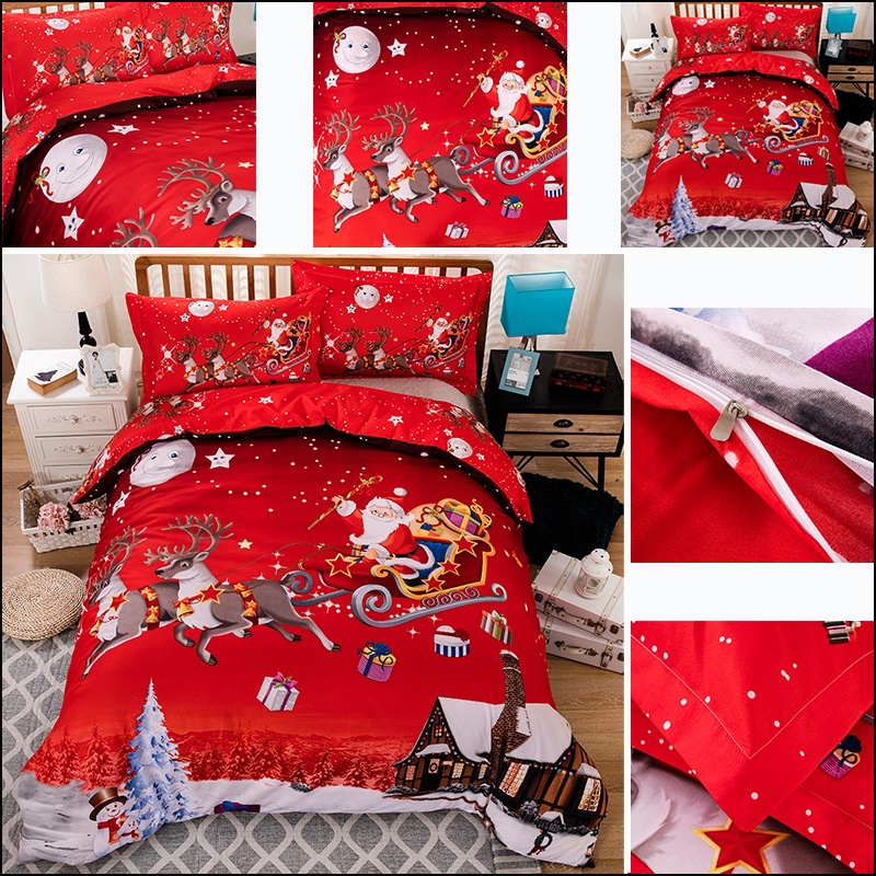 3pcs/Set Claus Duvet Cover Bedding Set Soft Comfortable Pillowcase Christmas Decoration For New Year Hotel Winter Quilt Cover