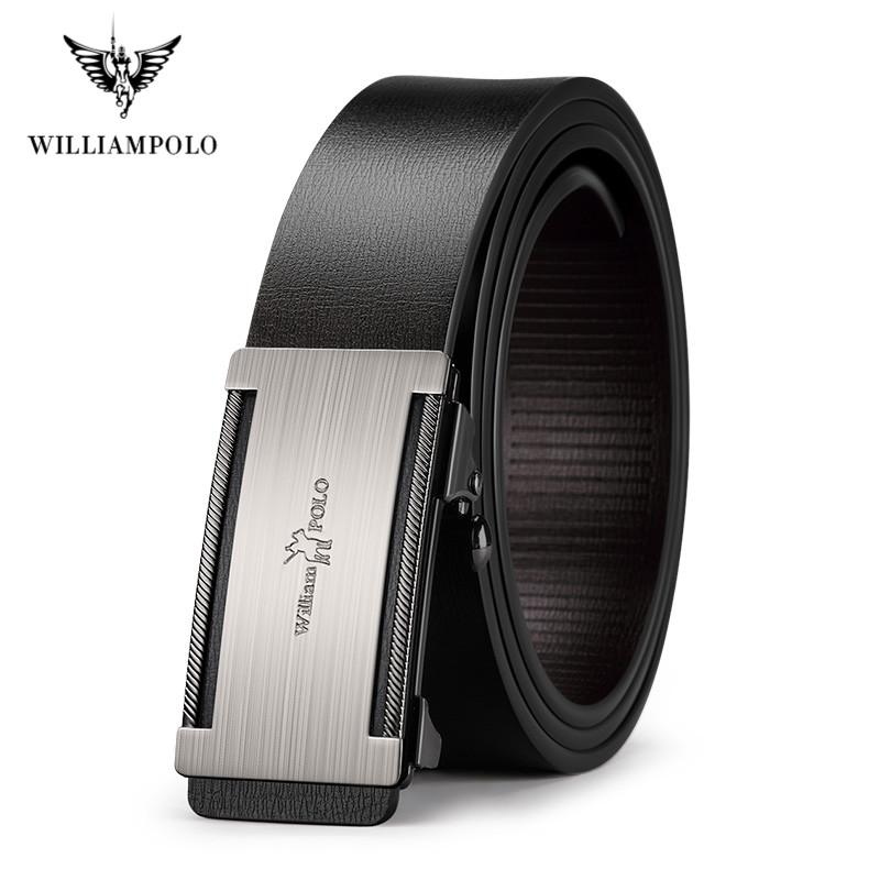 WilliamPolo Man Belt Brand Luxury Designer Leather Mens Genuine Leather Strap Automatic Buckle Waist Belt Classic