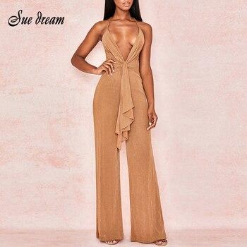 Sexy Backless V-Neck Khaki Elegant Long Wide-Legged Spaghetti Jumpsuit 2019 Autumn New Women'S Club Party Jumpsuit фото
