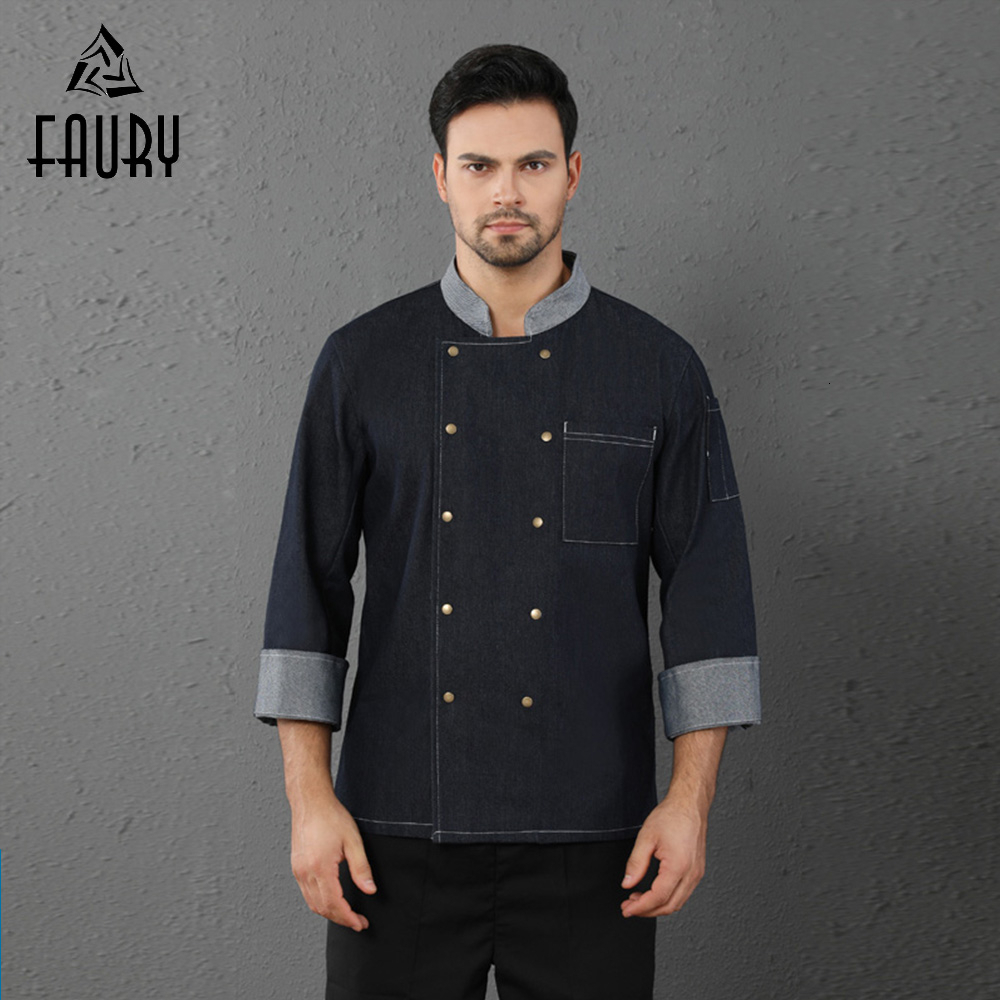 High Quality Chef Uniform Denim Kitchen Cooking Jacket Hotel Top Restaurant Cooking Coat Cafe Bakery Barber Shop Work Wear