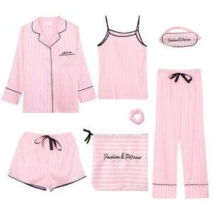 Image 2 - 7 Pieces Womens Silk Satin Pajamas Sets Pyjamas Set Sleepwear Pijama Pajamas Suit Female Sleep Two Piece Set Loungewear