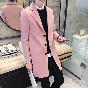 OLOEY Autumn Winter Men's Woolen Trench Coat Slim Fit Long Business Trench For Male Lapel  Leisure Outerwear