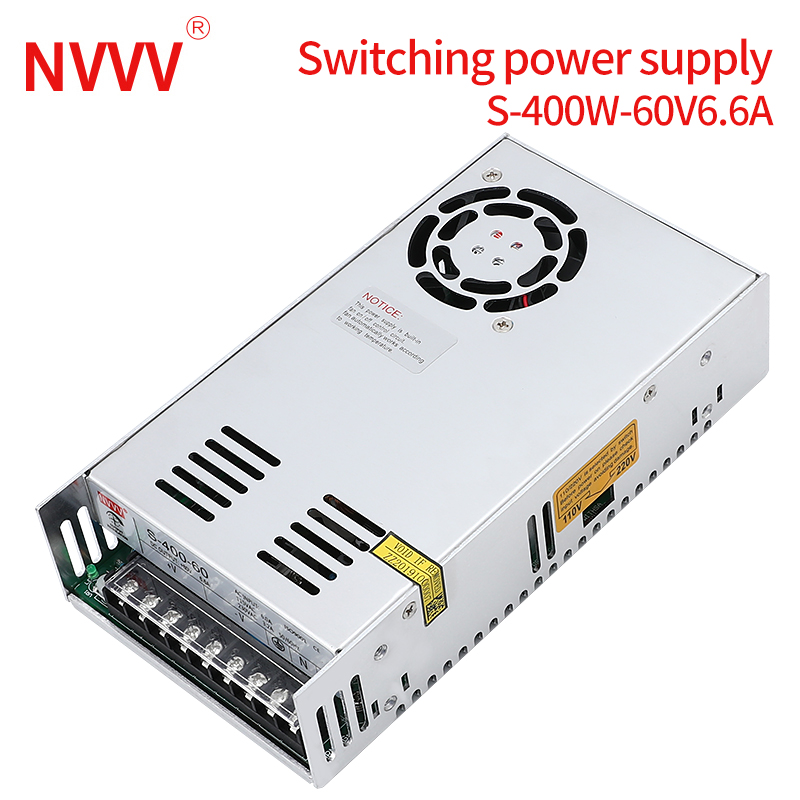 NVVV Switching Power Supply S-400w-60v6.6a Adjustable Voltage, Suitable For RD6006 (12V24V Ac Dc Power Supply)