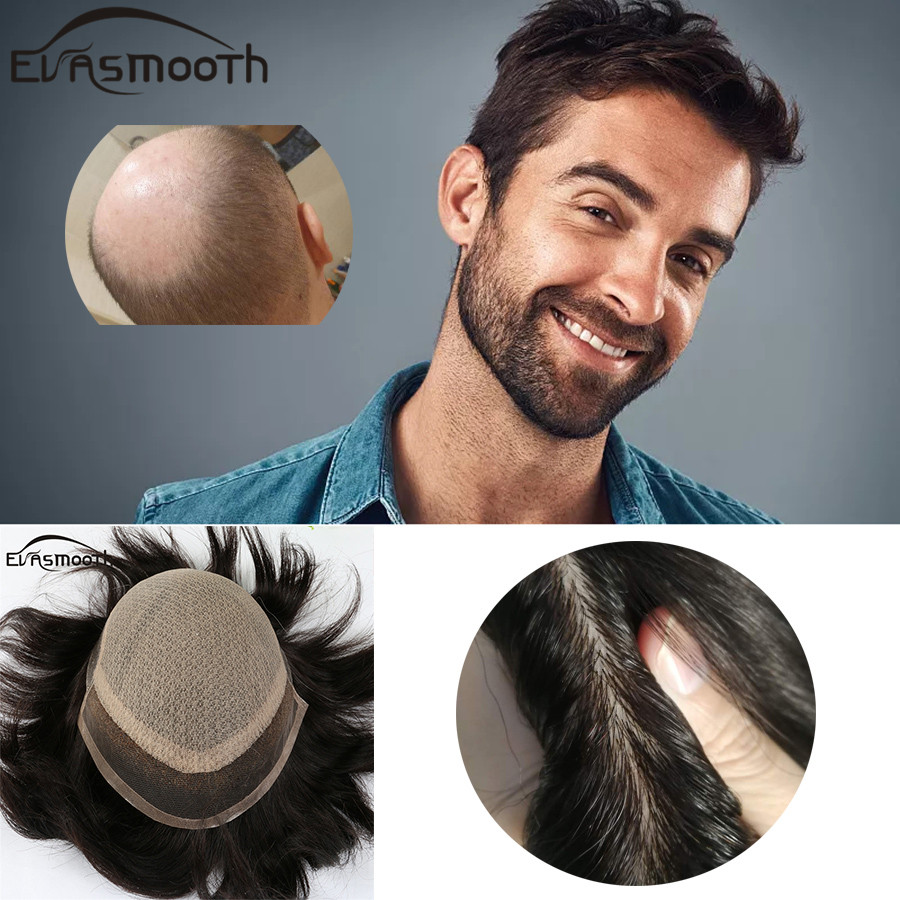 High Quality Men Toupee Silk Base Indian Remy Human Hair Men's Toupee Natural Scalp Natural Color Hair Sytem For Male Wig